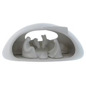 Natività con grotta Pinton in porcellana bianca 17X37X22 cm s1