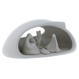 Natività con grotta Pinton in porcellana bianca 17X37X22 cm s3