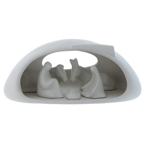 Natività con grotta Pinton in porcellana bianca 17X37X22 cm 1