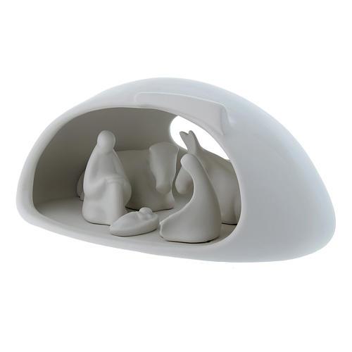 Natività con grotta Pinton in porcellana bianca 17X37X22 cm 2