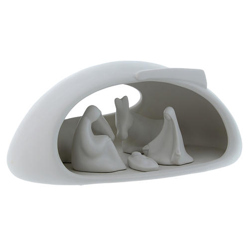 Natività con grotta Pinton in porcellana bianca 17X37X22 cm 3