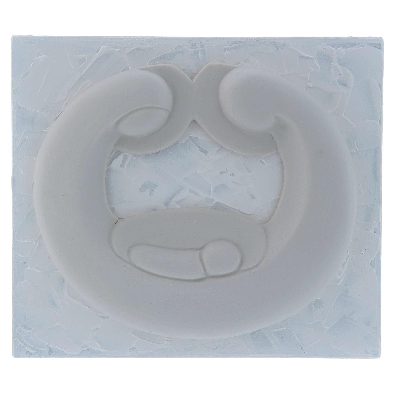 Bassorilievo in porcellana bianca Pinton Sacra Famiglia pannello bianco 15X17 cm 4