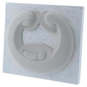Bassorilievo in porcellana bianca Pinton Sacra Famiglia pannello bianco 15X17 cm s2