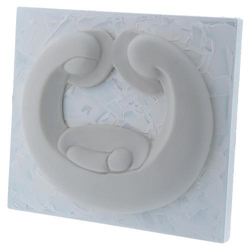 Bassorilievo in porcellana bianca Pinton Sacra Famiglia pannello bianco 15X17 cm 2
