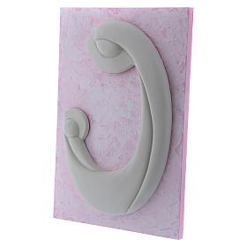 Bassorilievo in porcellana bianca Madonna Bambino pannello rosa Pinton 27X19 cm s2