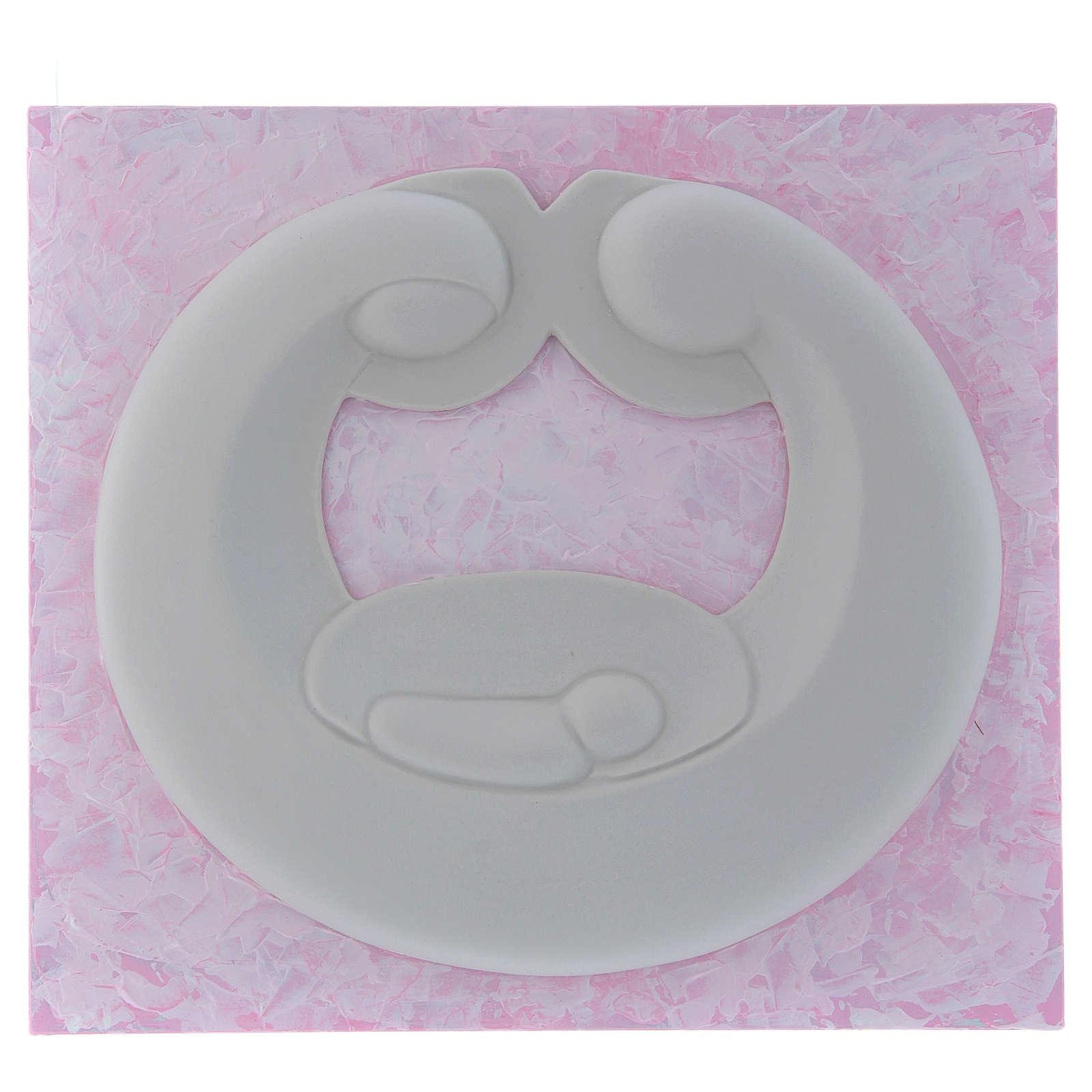 Bassorilievo Pinton Sacra Famiglia porcellana bianca su pannello rosa 22X25 cm 4