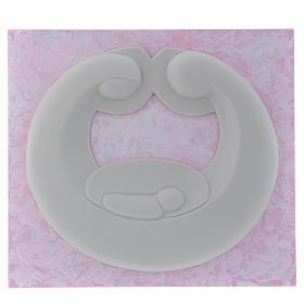 Bassorilievo Pinton Sacra Famiglia porcellana bianca su pannello rosa 22X25 cm s1