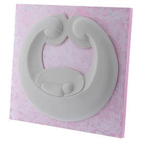 Bassorilievo Pinton Sacra Famiglia porcellana bianca su pannello rosa 22X25 cm s2
