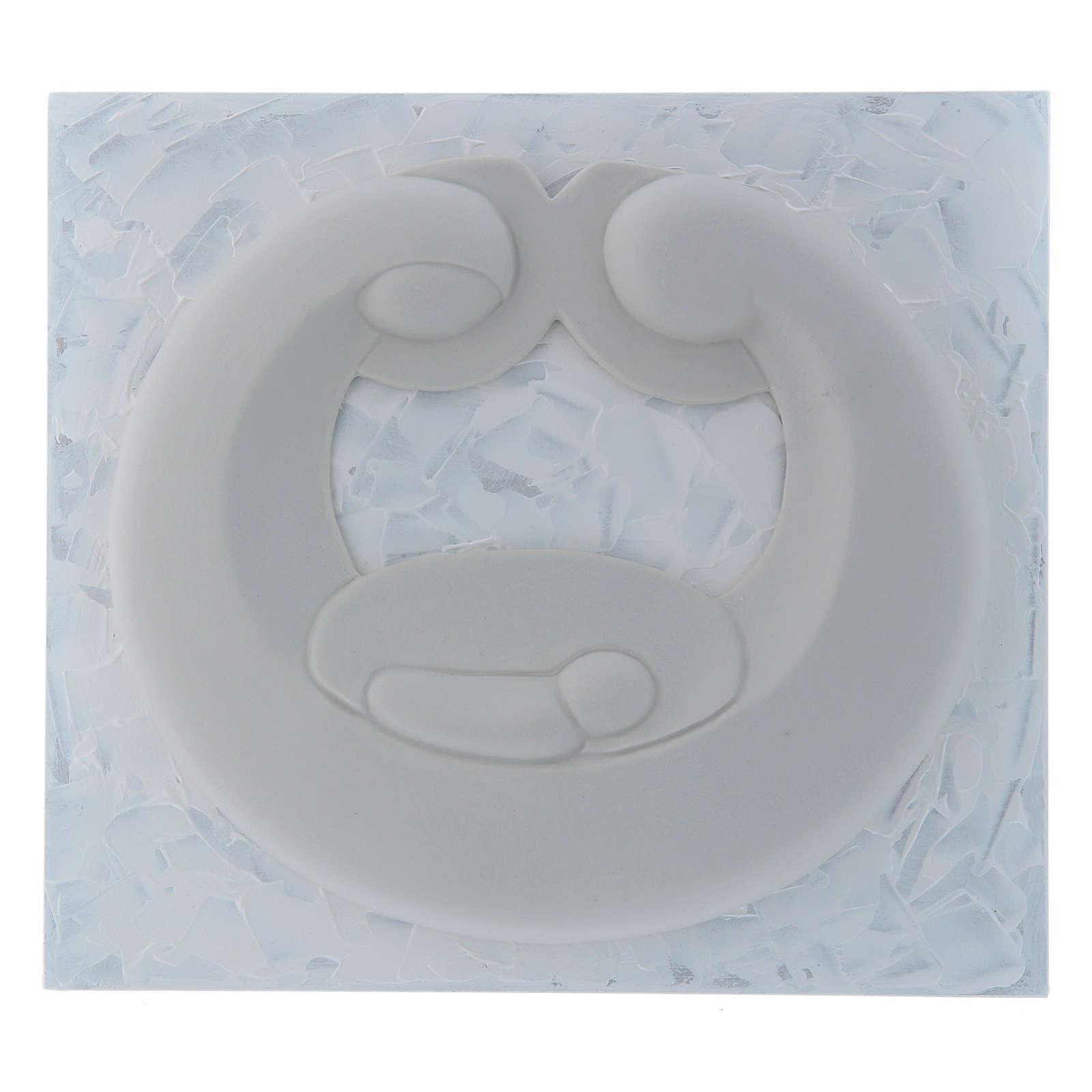 Bassorilievo Pinton Sacra Famiglia porcellana bianca su pannello bianco 22X25 cm 4