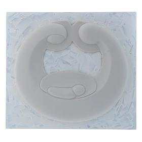 Bassorilievo Pinton Sacra Famiglia porcellana bianca su pannello bianco 22X25 cm s1
