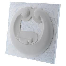 Bassorilievo Pinton Sacra Famiglia porcellana bianca su pannello bianco 22X25 cm s2