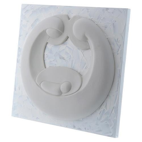 Bassorilievo Pinton Sacra Famiglia porcellana bianca su pannello bianco 22X25 cm 2