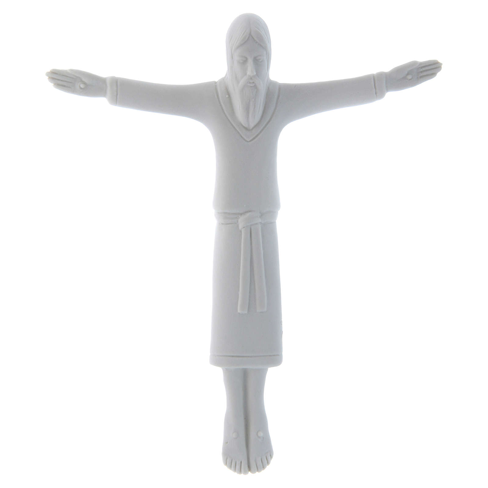 Crucifix with the body of Jesus Christ dressed with a tunic without cross bas-relief 17X15 cm Pinton 4