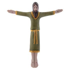 Crucifijos cerámica arcilla porcelana: Bajorrelieve Pinton de porcelana crucifijo con túnica verde 17x15 cm