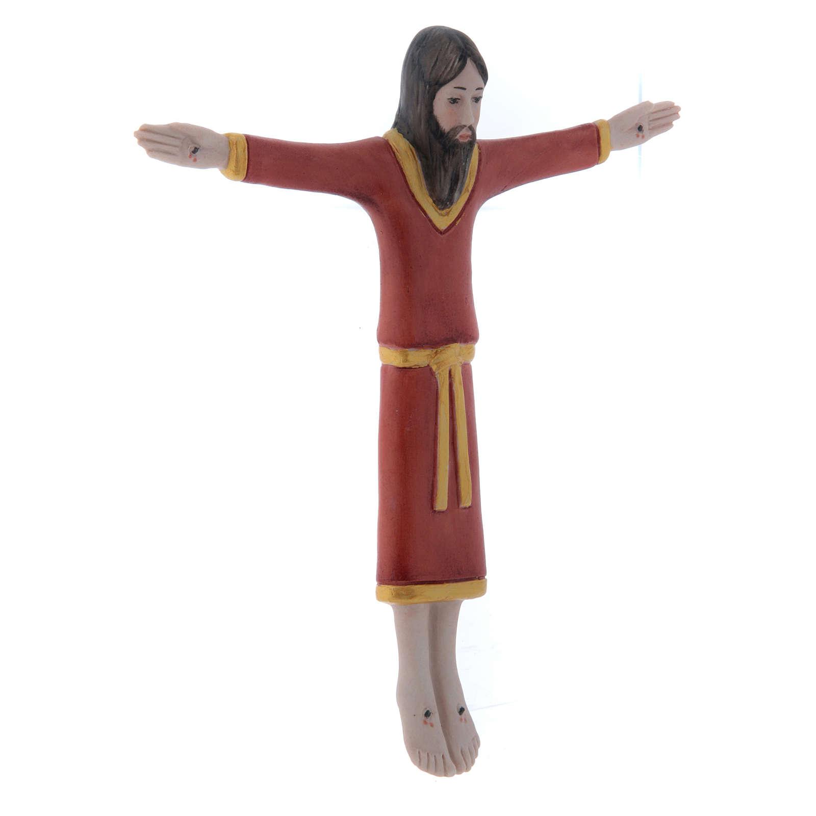 Bassorilievo Pinton in porcellana crocifisso tunicato rosso 17X15 cm Pinton 4