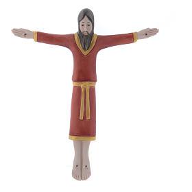 Bassorilievo Pinton in porcellana crocifisso tunicato rosso 17X15 cm Pinton s1