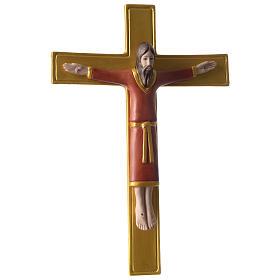 Crocifisso tunicato 25 cm porcellana dipinta Pinton s3