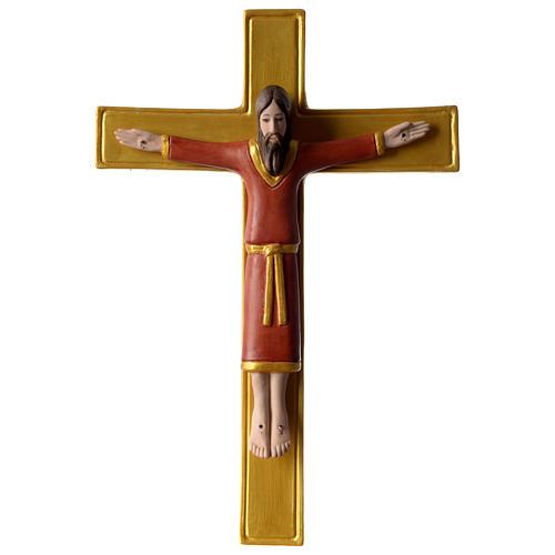 Crocifisso tunicato 25 cm porcellana dipinta Pinton 1