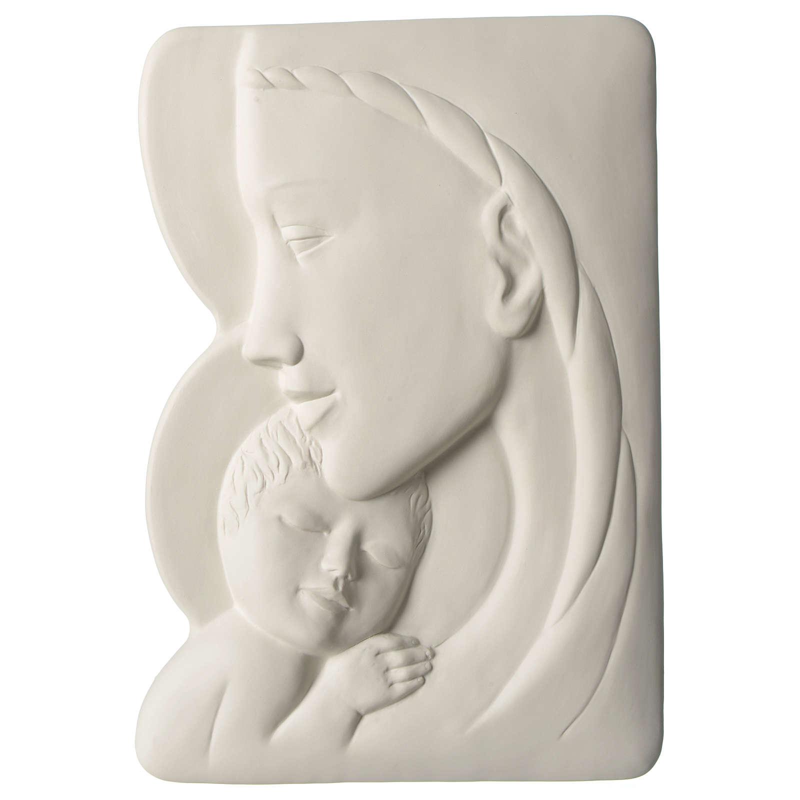 Virgen con Niño bajorrelieve porcelana 40 cm Pinton 4