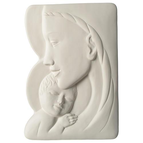 Madonna z Dzieciątkiem płaskorzeźba porcelana 40 cm Pinton