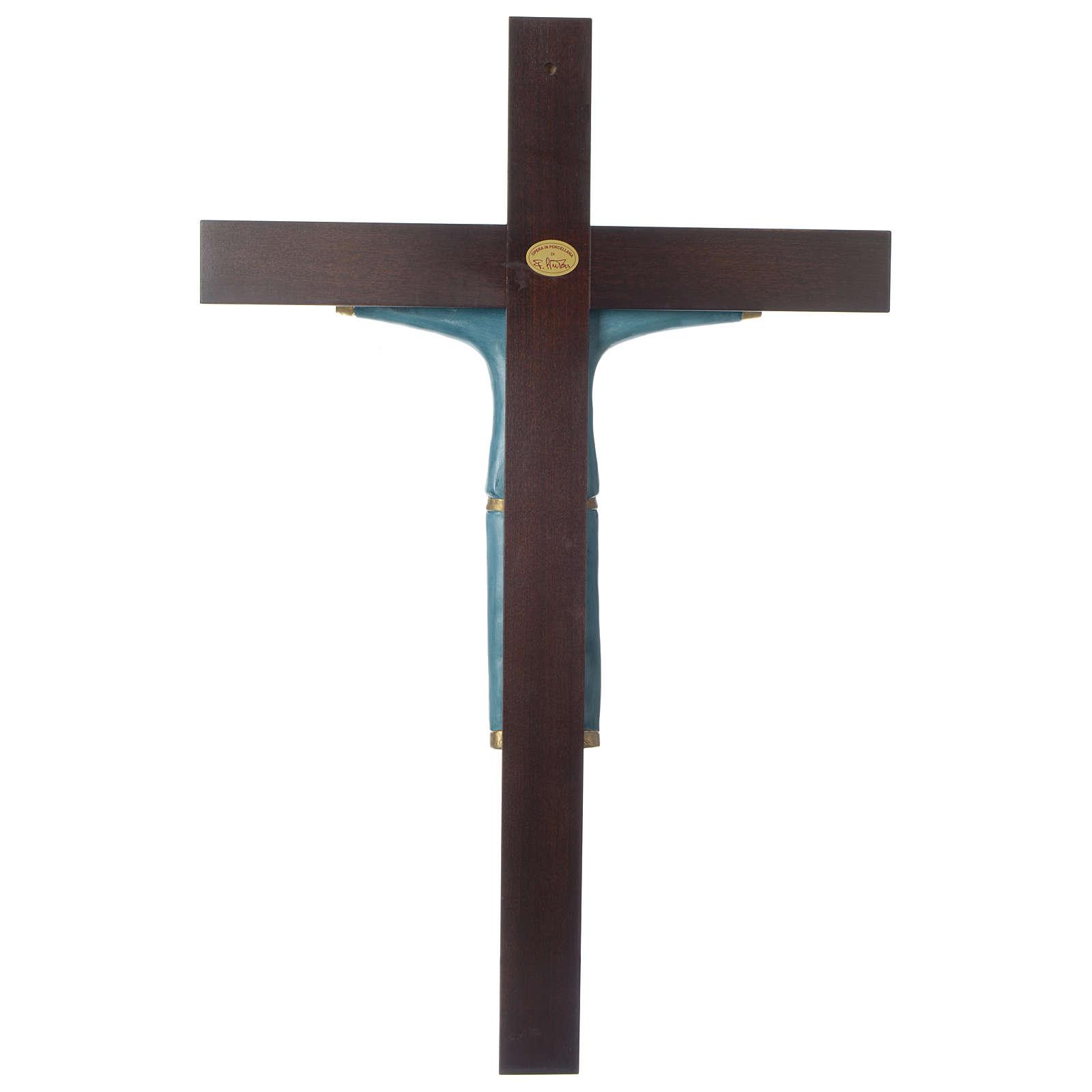 Crocifisso decorato azzurro croce mogano porcellana 65x42 cm Pinton 4