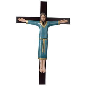 Crocifisso decorato azzurro croce mogano porcellana 65x42 cm Pinton s1