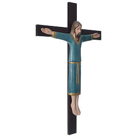 Crocifisso decorato azzurro croce mogano porcellana 65x42 cm Pinton s3