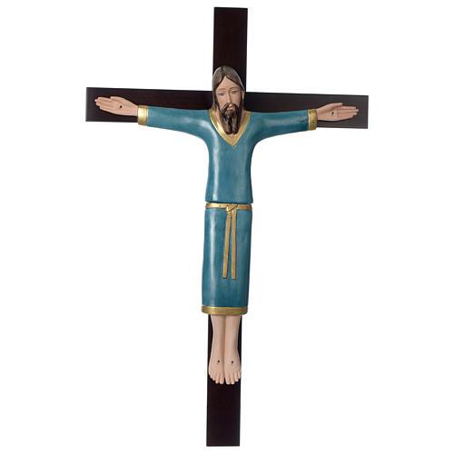 Crocifisso decorato azzurro croce mogano porcellana 65x42 cm Pinton 1