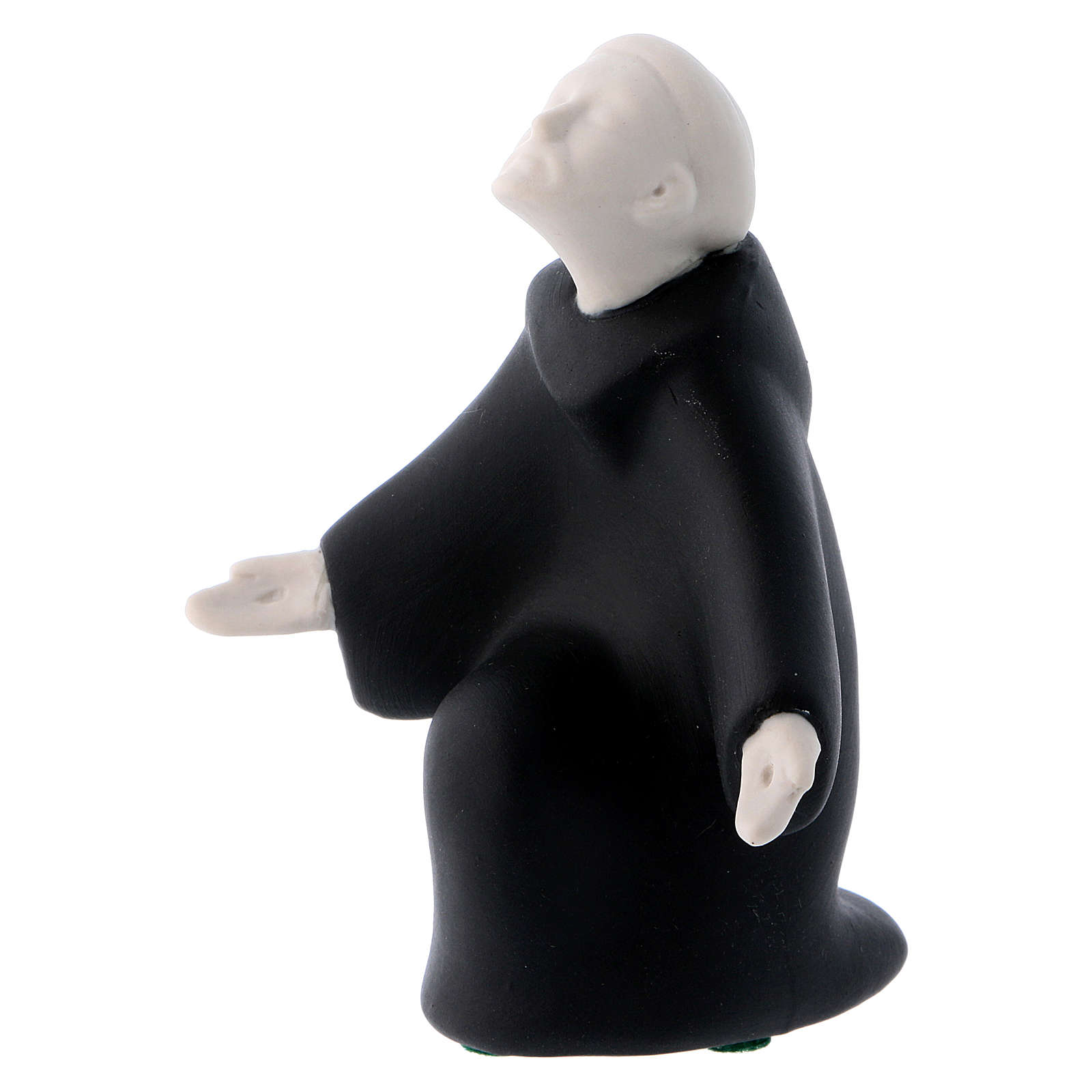 Saint Francis of Assisi with black robe in porcelain, 10 cm Francesco Pinton 4