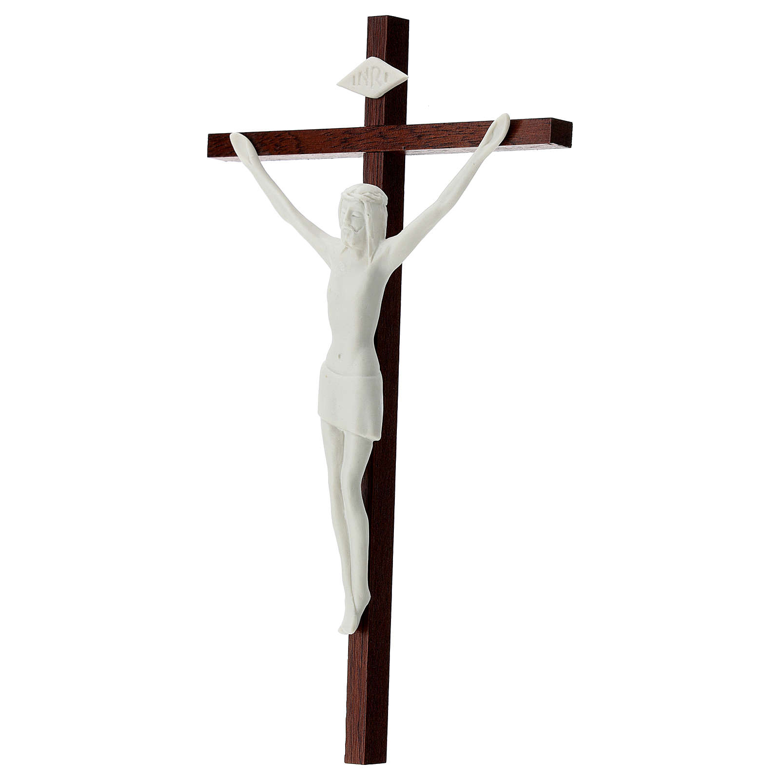Crucifix in white porcelain and wood 20 cm 4