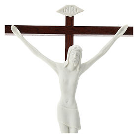 Crucifix in white porcelain and wood 20 cm s2