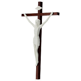Crucifix in white porcelain and wood 20 cm s3