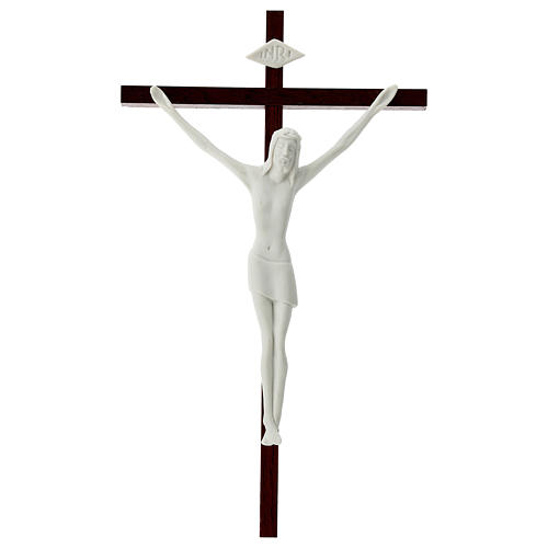 Crucifix in white porcelain and wood 20 cm 1