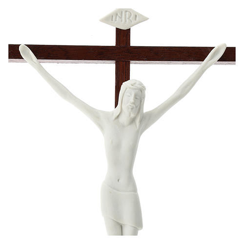 Crucifix in white porcelain and wood 20 cm 2