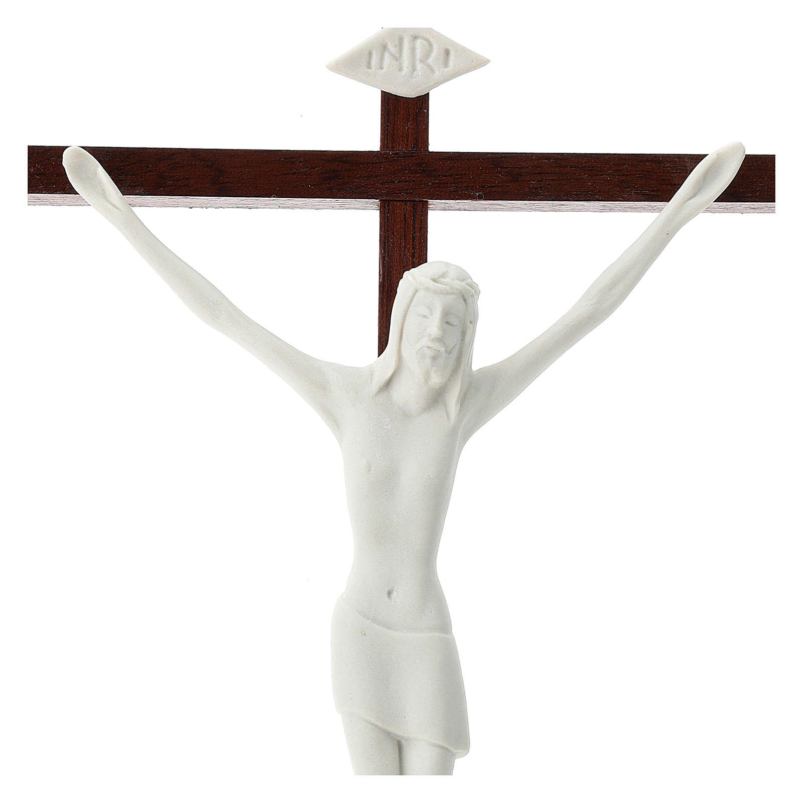 Crucifijo porcelana blanca y madera 20 cm 4