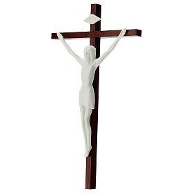 Crucifijo porcelana blanca y madera 20 cm s3