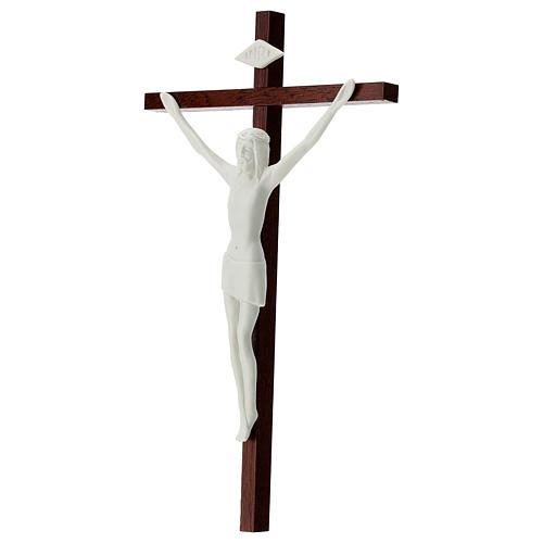 Crucifijo porcelana blanca y madera 20 cm 3