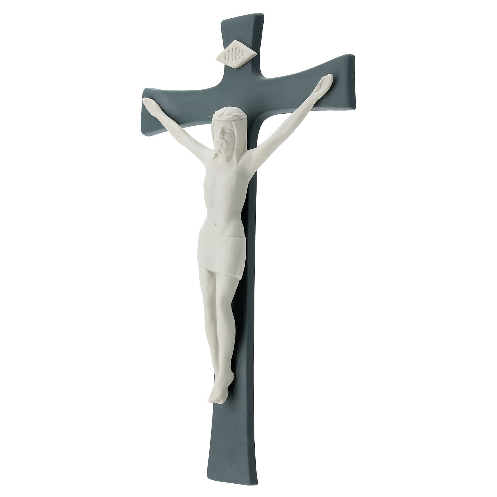 Crucifijo porcelana base gris 35 cm 4