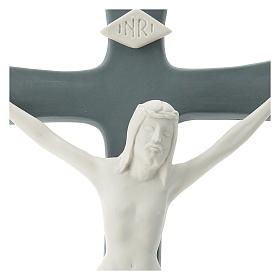 Crucifijo porcelana base gris 35 cm s2