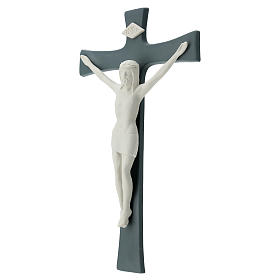 Crucifijo porcelana base gris 35 cm s3