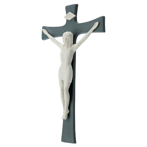 Crucifijo porcelana base gris 35 cm 3