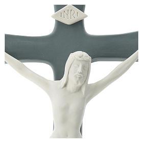 Crocefisso porcellana base grigia 35 cm s2