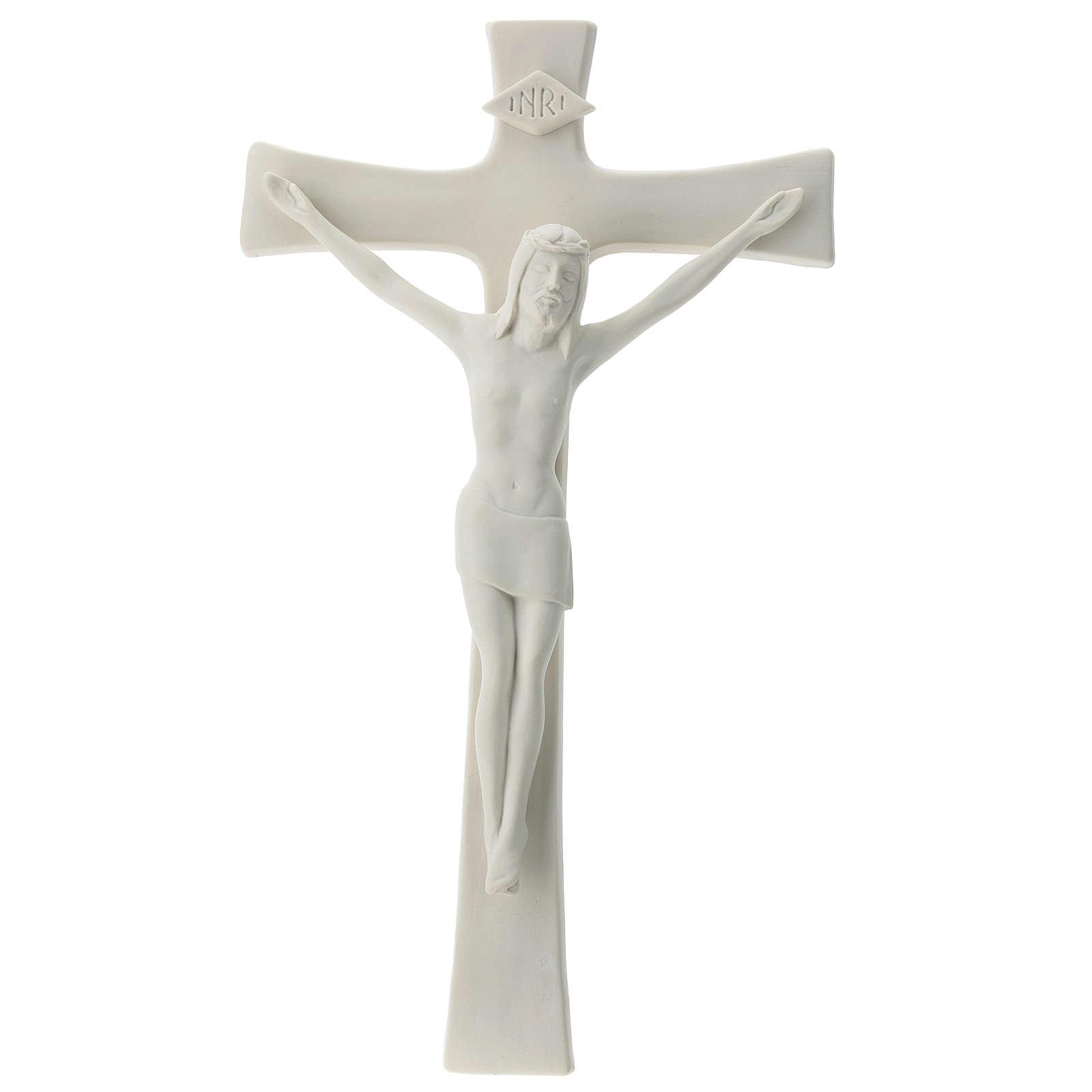 Crocefisso porcellana bianca 35 cm 4