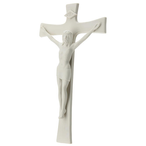 Crocefisso porcellana bianca 35 cm 3