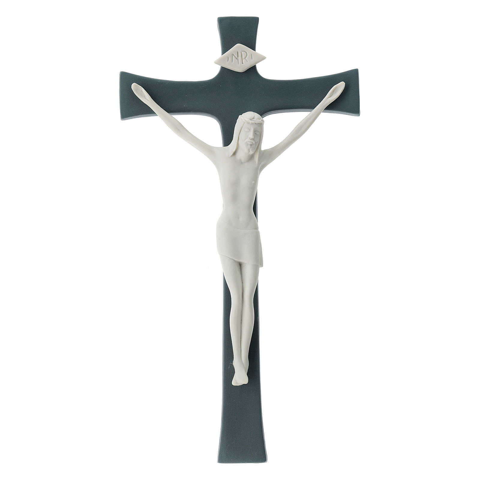 Porcelain crucifix grey base 30 cm 4