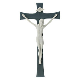 Porcelain crucifix grey base 30 cm s1
