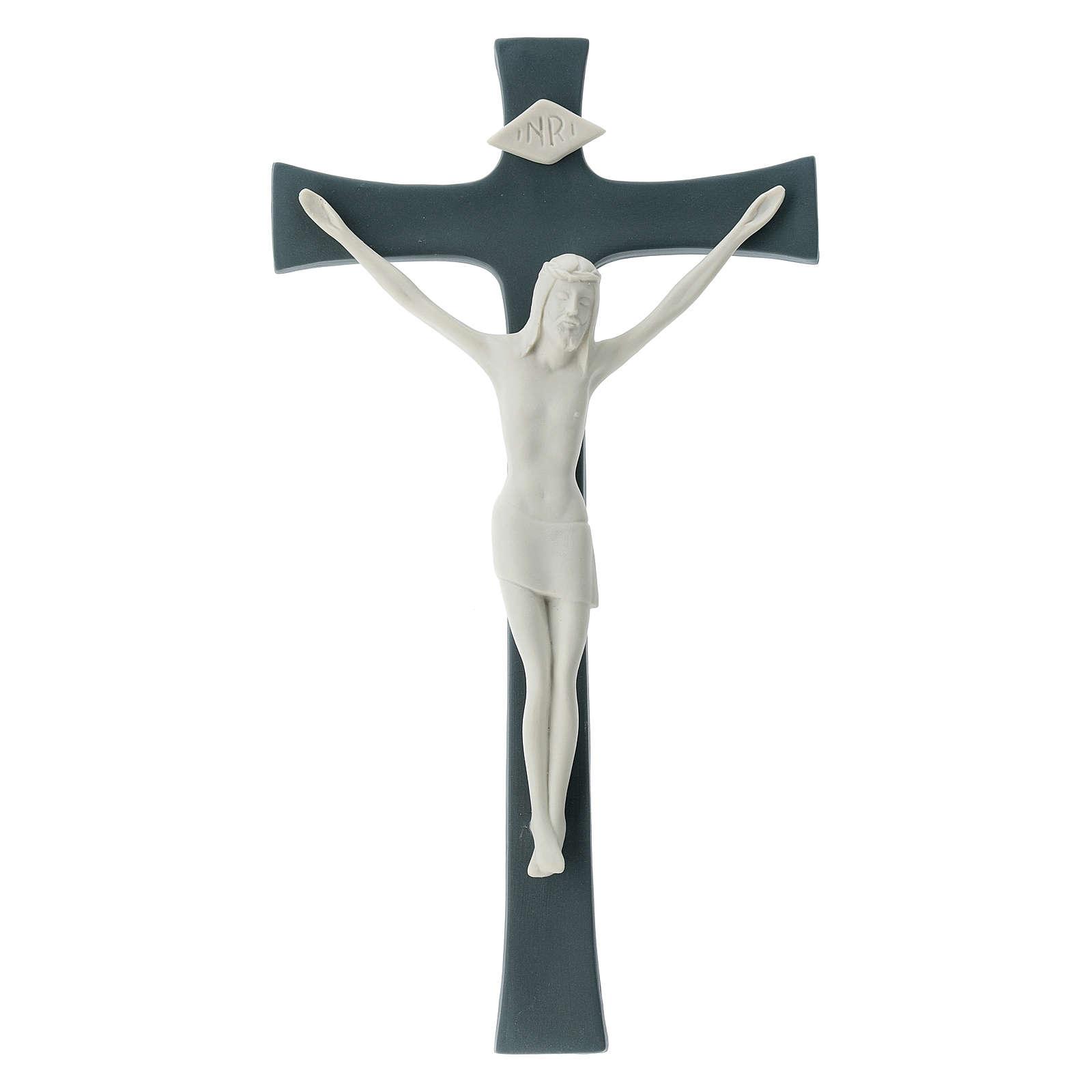 Crucifijo porcelana fondo gris 30 cm 4