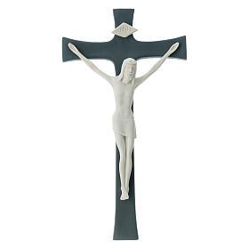 Crucifijo porcelana fondo gris 30 cm s1