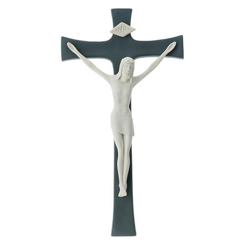 Crucifijo porcelana fondo gris 30 cm 1