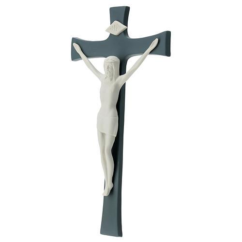 Crucifijo porcelana fondo gris 30 cm 3